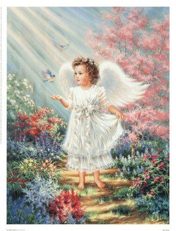 image d'un ange marchant dans un très beau jardin abondament fleuris, avec des oiseaux, des mésanges, lui tournant autour et se posant dans sa main.