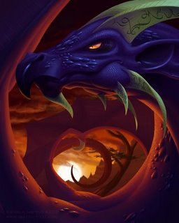 dragon bleu géant à corps rouge