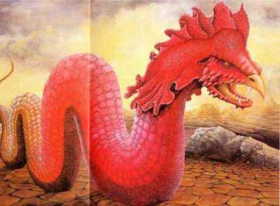 image de basilic rouge. Le basili est un grand serpent géant, provenant d'un oeuf de crapeau qu'une poule a couvé.