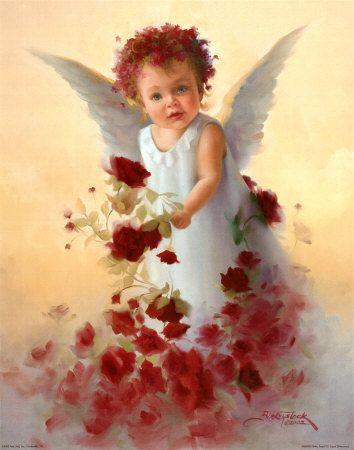 image d'un ange entouré de grosses fleurs rouges, noyé dans un nuage brumeux.