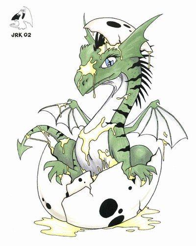 Dessin b b dragon vert qui clo - Dessin de bebe dragon ...