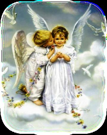 image de deux anges : un jeune ange garçon qui fait un bisous amical (ou amoureux ?) sur la joue d'une jeune fille ange. Ils sont sur un nuage, entouré d'oiseaux blancs, de plumes et de fleurs.
