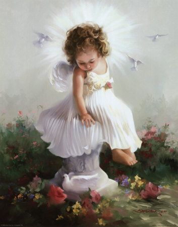 image d'un ange assise sur une colonne romaine, une lumière lumineuse brillant derrière sa tête, comme une très grande auréole. Elle a une très belle robe blanche et des oiseaux, les colombes de la liberté, lui tournent autour.