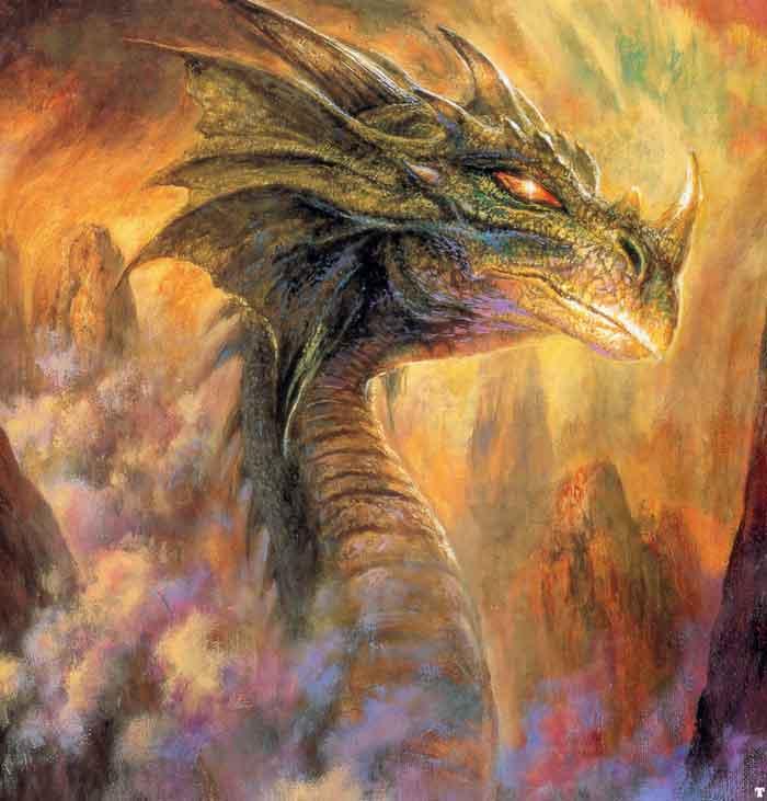 belle peinture dragon dans feu et fumée dasn cratère volcan