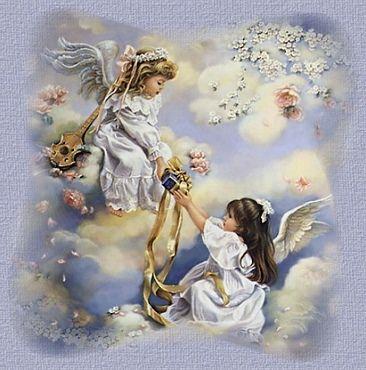 image d'anges qui s'offrent un cadeau, assisent sur les nuages