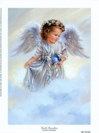 image ange ailes duveteuses avec un oiseau bleu dans la main, marchant sur un nuage.