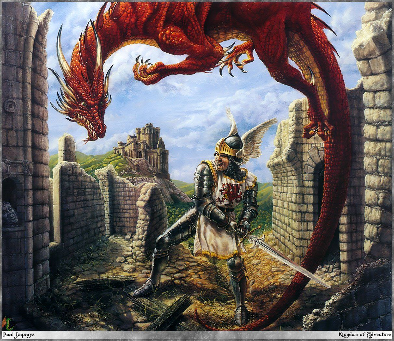 dragon rouge combat avec chevalier dans ruines. Black Bedroom Furniture Sets. Home Design Ideas