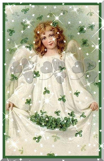 image d'une jeune fille ange sous une pluie de treffles à trois ou quatre feuilles, qu'elle ramasse dans le plis de sa jupe, robe ou tunique blanche d'ange. Que ette image vous porte chance ! C'est une très belle image d'ange porte bonheur avec plein d'étincelles brillantes, de lumières blanhes, comme mille étoiles brillantes devant l'image