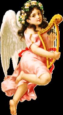 jeune ange adolescente dansant, avec une harpe dans les bras. Elle a une couronne de fleurs tressées jaunes pâles déposées sur la tête, une robe rose, et ses mains parcourent les ordes de la harpes.