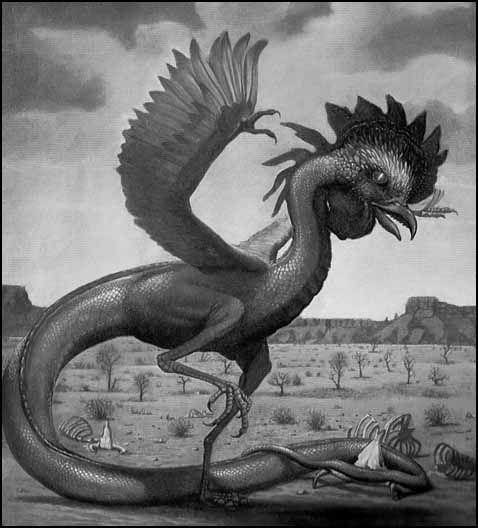 image ou dessin d'un basilic à corps de poule et queue de serpent marchant dans un désert jonché d'ossements, de squelettes.