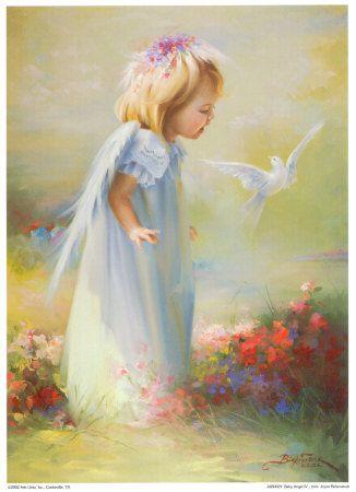 Image d'un jeune ange se promenant d'un un jardin digne du paradis. Cette image est l'animation étoilée d'un enfant ange aux ailes claires de plumes duveteuses et portant une robe blanche longe large d'enfant, de bébé. Elle a la tête penchée sur un oiseau, une colombe blanche qui vole autour d'elle en la regardant ave amour et amitié. Des fleurs multicolores et joyeuses poussent librement sur le sol.